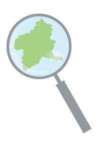 虫眼鏡ルーペ拡大鏡と群馬県の詳細地図関東地方 都道府県別地図のイラスト ベクターデータ