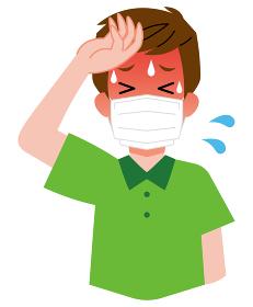 熱中症、マスクをしている、若い男性