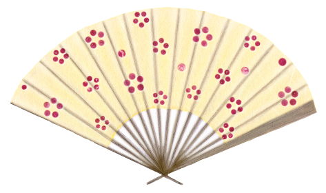 黄色い和風の扇子 赤梅模様 日本和雑貨