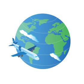 飛行機での海外旅行のイメージ