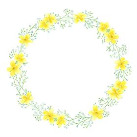黄色い花とかすみ草のフレーム 円枠 水彩イラスト