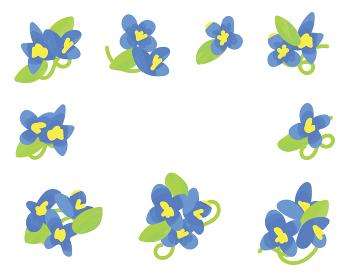 青い花のイラスト セット