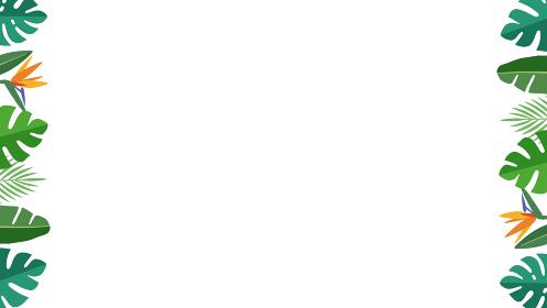 南国トロピカル ボタニカルリーフ 枠飾り、左右装飾フレーム(16:9比率)