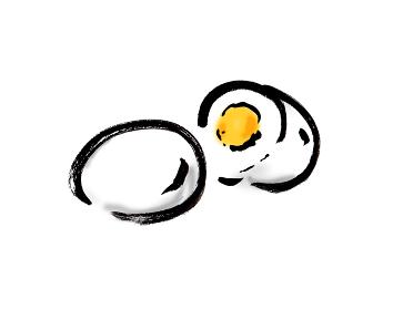 手描きイラスト素材 洋食 ゆでたまご, ゆで玉子, 茹で玉子, 茹で卵,ゆで卵