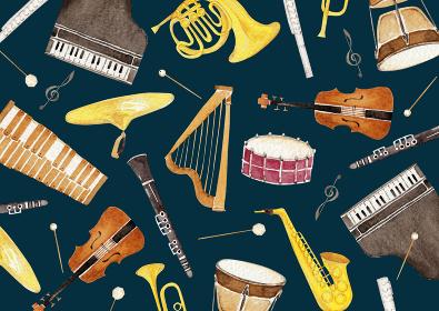 楽器 オーケストラ 背景 テキスタイル 水彩 イラスト