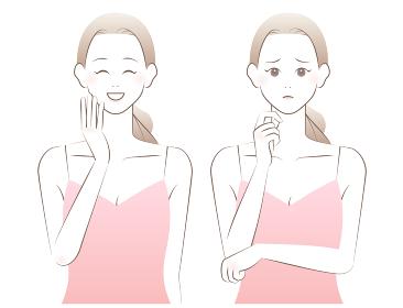 スキンケアする女性。肌着姿の女性。優しく柔らかな水彩風イラスト。
