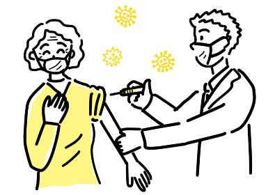 高齢者女性にワクチン接種する医師のイラスト