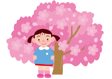 満開の桜と女の子の園児
