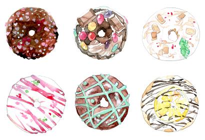 カラフルなドーナツの水彩イラスト
