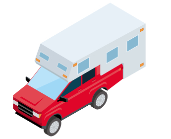 SUV車ピックアップトラックキャンピングカー アイソメトリックスの自動車のイラスト 3D立体