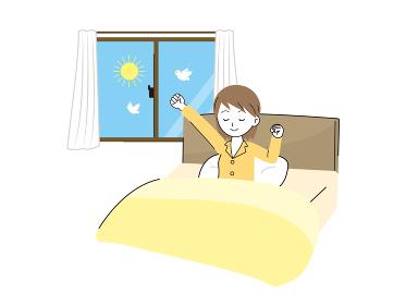 起床 目覚める女性のイラスト