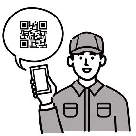 作業服 男性 若い スマホ スマートフォン 携帯電話 携帯 QRコード ポップ 手描き