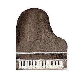 グランドピアノ 楽器 オーケストラ 水彩 イラスト