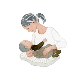 赤ちゃん 子ども お母さん 母親 家族 人物 水彩 イラスト
