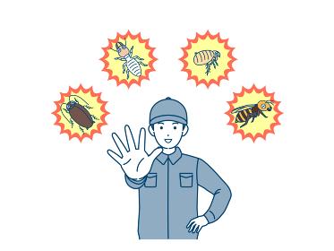 害虫駆除業者の男性 害虫から守る 撃退 退治 イラスト素材