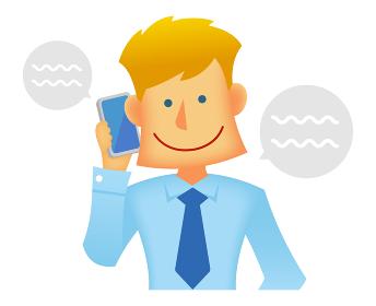外人・西洋人 若い男性サラリーマン・ビジネスマン 上半身イラスト/電話する・スマートフォン・携帯電話
