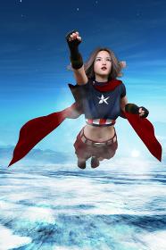 澄んだ空気の上空を飛行する胸に星マークのある女性ヒーロー