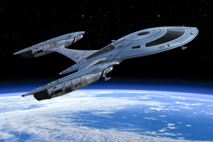 地球から飛び立つ大きな宇宙船