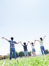 晴れた公園で手をつなぐ家族