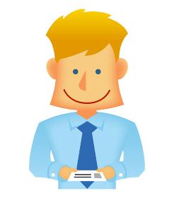 外人・西洋人 若い男性サラリーマン・ビジネスマン 上半身イラスト(名刺交換・営業・打ち合せ)