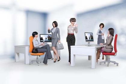 綺麗なオフィスでおしゃれなファッションをした5人の女性社員が楽しく会話する