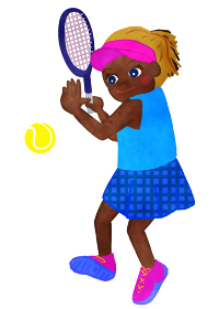 テニス少女 ラケットでテニスボールを打つ場面 ヒスパニック系アメリカ人バージョン2
