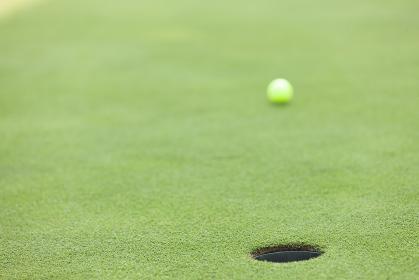 グリーンを転がるゴルフボール