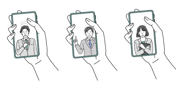 スマートフォンを持つ手とビジネスパーソンのイラストレーション