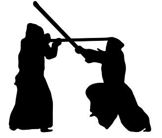 戦う剣道のシルエット