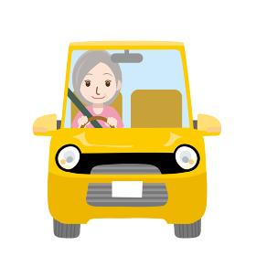 可愛らしい自動車ドライブのイラスト正面シニアお年寄り老人お婆さん女性
