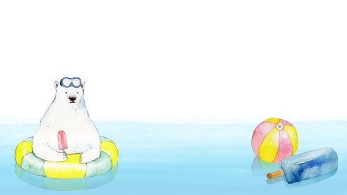 白クマ 浮き輪 海 背景 フレーム 水彩 イラスト 横長