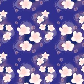 桜のシームレスパターン(青背景)