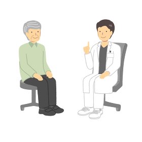 病院で相談するシニア男性