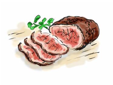 手描きイラスト素材 洋食 ローストビーフ, 牛肉, 肉, 肉料理,