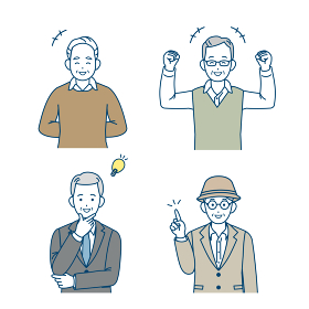 年配の男性 シニア 高齢者 人々 笑顔 元気 ポーズ 仕草 セット イラスト素材