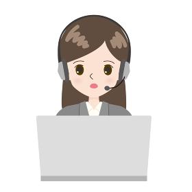 PCに向かうテレフォンオペレーターの女性