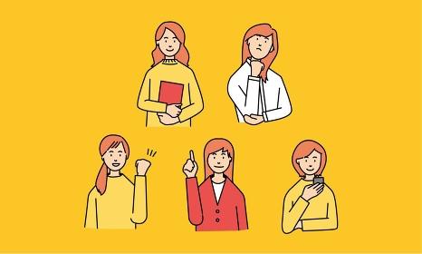 5人の女性のハンドサイン