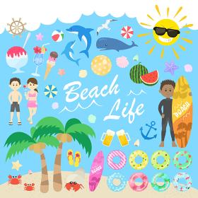 夏の海のイラストセット