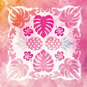 水彩画風ハワイアンキルトのパターン ヤシの木とモンステラとパイナップル|背景イラスト|夏のイメージ