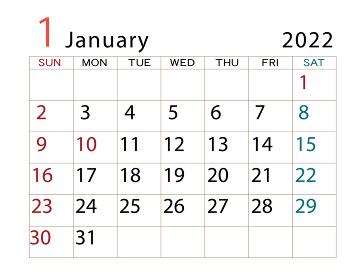 2022年 カレンダー 1月 その2