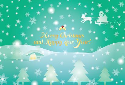 サンタとトナカイと雪の結晶のクリスマスカード