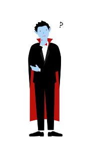 ハロウィンの仮装、バンパイア姿の男性が腕組みして悩むポーズ