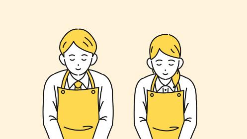 お辞儀をする エプロン姿の店員 いらっしゃいませ スーパー 飲食店 イラスト素材