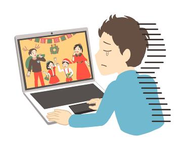 オンラインでクリスマスを見て涙を流す男性(線無し)