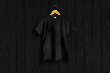 黒色のTシャツ 黒バック 5477