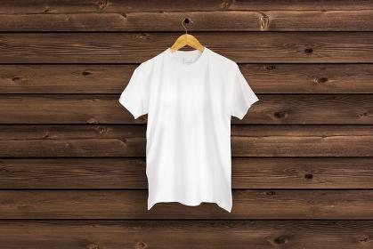白色のTシャツ 木目バック 5477
