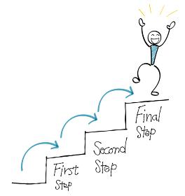 3ステップ達成 喜ぶ人物 階段