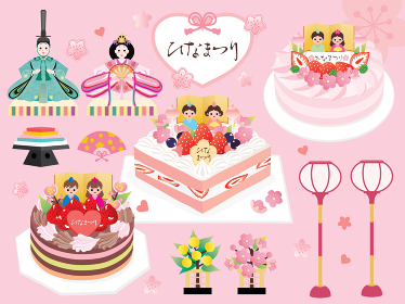 ひな祭りの雛人形やケーキのセットイラスト
