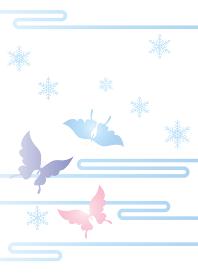 胡蝶と雪の結晶 イラスト 切り絵のようなデザイン 寒中お見舞いhappy holidays 背景素材