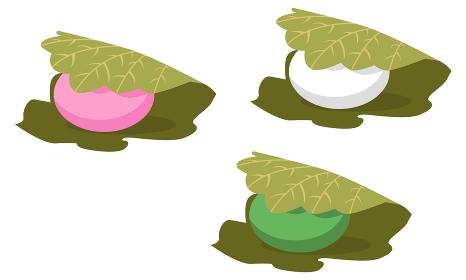 イラスト素材 かしわ餅 柏餅 和菓子 スイーツ デザート ベクター